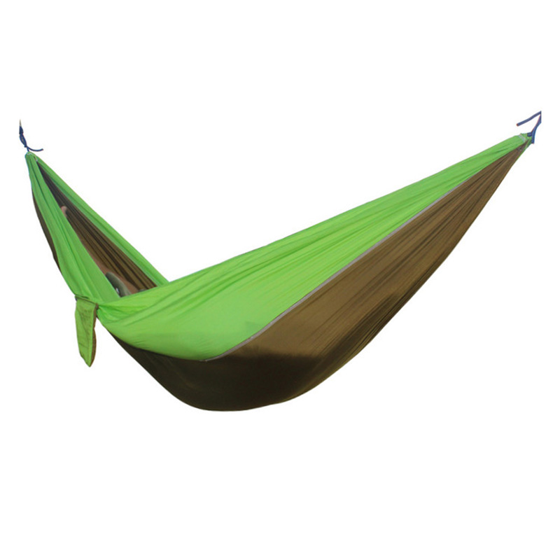2 People Portable Parachute Hammock for outdoor CampingCamel with fruit green side 270*140 cm 2 people portable parachute hammock outdoor survival camping hammocks garden leisure travel double hanging swing 2 6m 1 4m 3m 2m