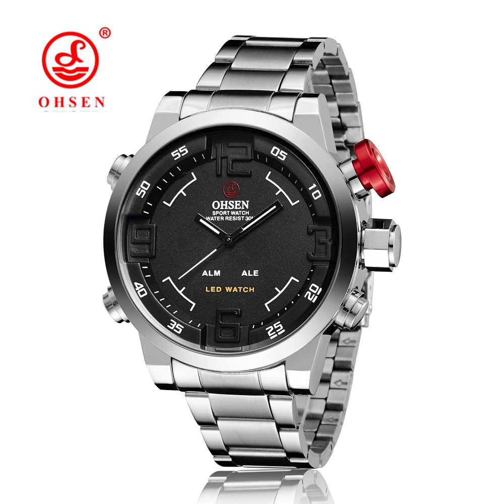 Hot Sale OHSEN Mens Military Sports Watches Full Steel Band Quartz Watch Men Male LED Display Wristwatch Water Resistant Relogio втулка передняя joy tech 751dse мтв 32h ось м9х100мм с эксцентриком серебристая 751dse 32h