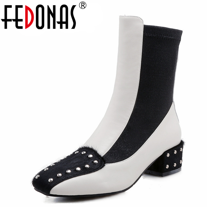 FEDONAS Brand Women Ankle Boots Punk Rivets Autumn Winter Short Martin Shoes Woman High Heels Elegant Office Pumps New Shoes fedonas new warm autumn winter snow shoes woman high heels zipper short martin boots retro punk motorcycle boots 2019 new shoes