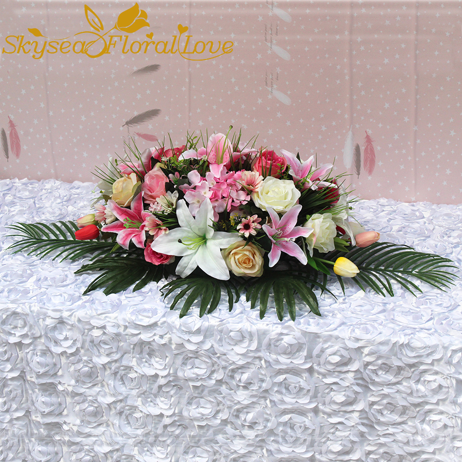 Artificial rose lily meeting room home decoration flowers hotel event party wedding table flowers-in Artificial & Dried Flowers from Home & Garden    1