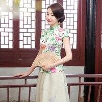New Summer Slim White Green Satin Ladies Mandarin Collar Chinese Women Short Flower Shirt Chinese Vintage