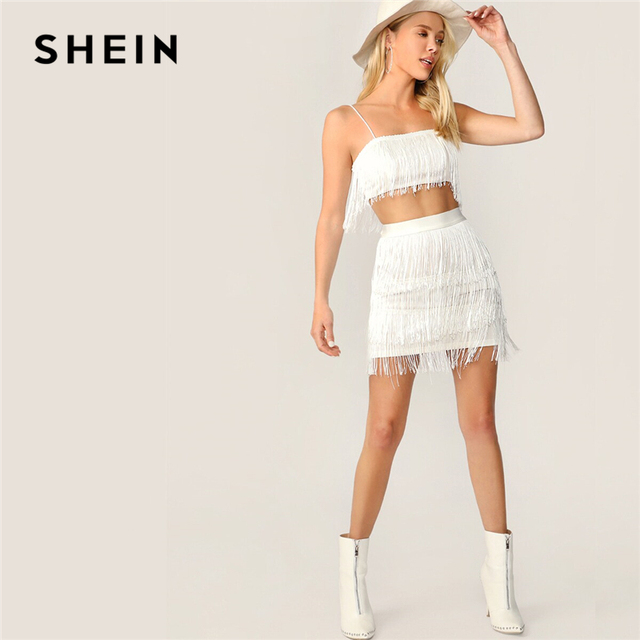 130eeb9d0 SHEIN Sexy White Fringe Detail Cami Crop Top and Layered Bodycon Skirt 2  Piece Set Women Summer Solid Club Party Two Piece Set