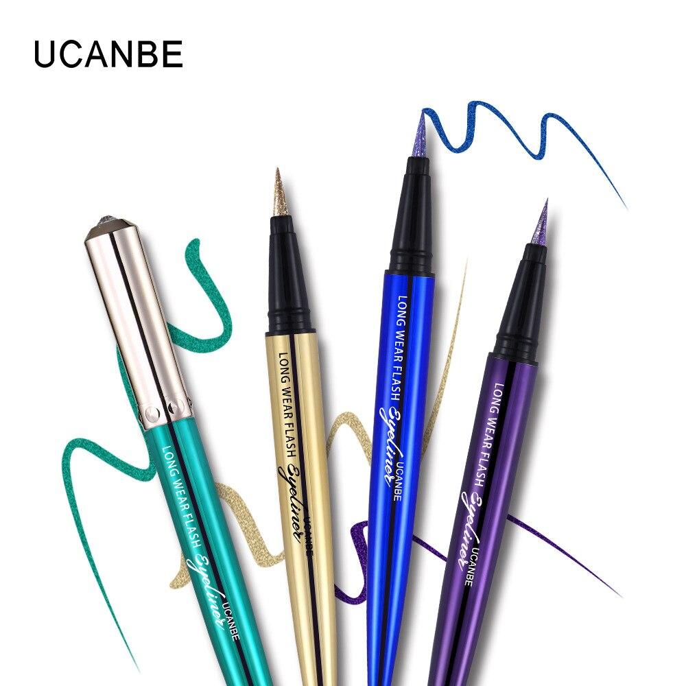 Ucanbe makeup glitter eyeliner pencil 5colors purple blue green eye liner waterproof long lasting liquid white eyeliner AU045 11