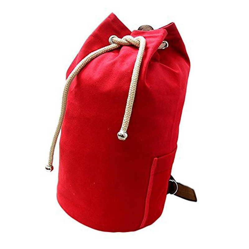 Large Capacity Fitness Sports Bag Vintage Canvas Drawstring Backpack Rucksack Men Woman Travel Daypack Gym Bag HA86