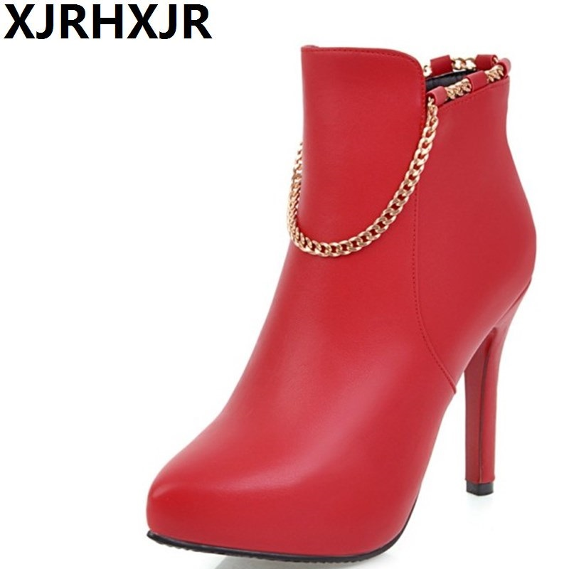XJRHXJR Winter Warm Sexy Thin High Heel Pointed Toe Ankle Boots Fashion Chain Platform Side Zipper Shoes Woman Black Red White women faux suede side zipper sexy thin high heel thigh boots fashion pointed toe winter shoes black g