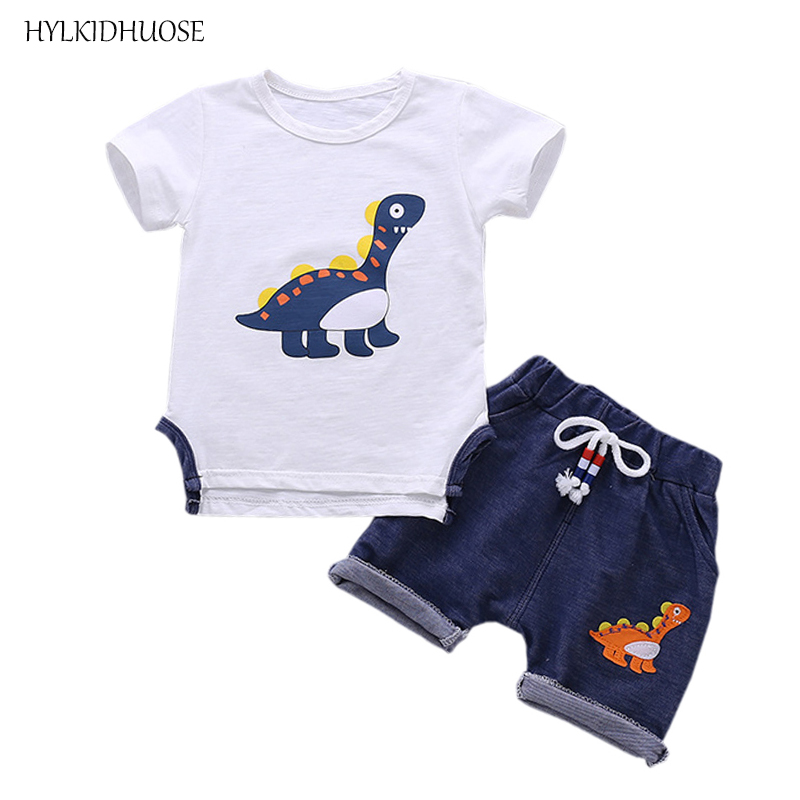 HYLKIDHUOSE Summer Baby Boys Clothing Sets Infant Clothes Short Sleeve Cartoon T Shirt Shorts Casual Style Children Kids Suits