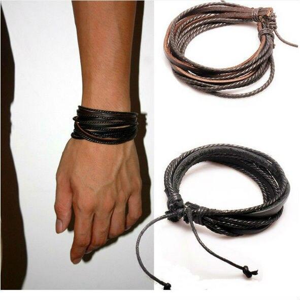 Hot Sale Wrap Genuine Leather Bracelet  Braided Rope for Men Women Fashion Jewelry Friendship Bracelet Gift Fast Shipping XCJ024