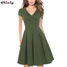 Army Green Casual Cap Sleeve V-Neck Ruffle Work Casual A Line Skater Knee Length Cross Wrap Party Tea Swing Dress цена и фото