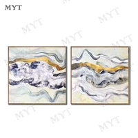 Impression 2 pcs abstract beautiful line Landscape Oil Painting on Canvas Art Poster Wall Picture for Living Room home decor