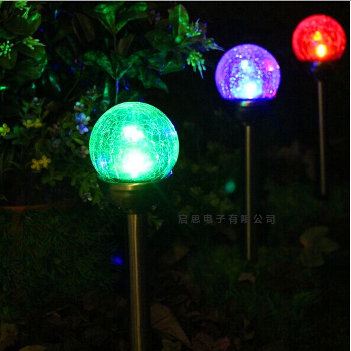 Led waterproof Solar crackle glass ball ball colorful lawn lamp Path Light Yard Path lamp Garden