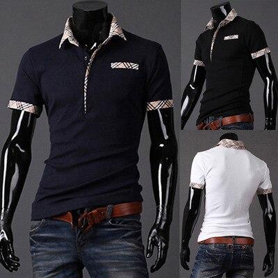 2016 Verano Nuevos hombres de la camisa a cuadros de moda camisa de Polo de cuello Delgado ocasional de Los Hombres camisas de manga corta camisa de solapa tops