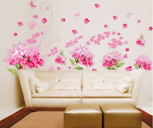 Elegant Large Sticker 60*90cm 3pcs Free Shipping 3d Sticker Graffiti Removers Pink Flowers  Butterfly Wallpaper Part 26
