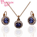 Fancyde Girl Gold Plated  New Upscale Temperament Semicircular Austrian Crystal Earrings Necklace Jewelry sets For Women