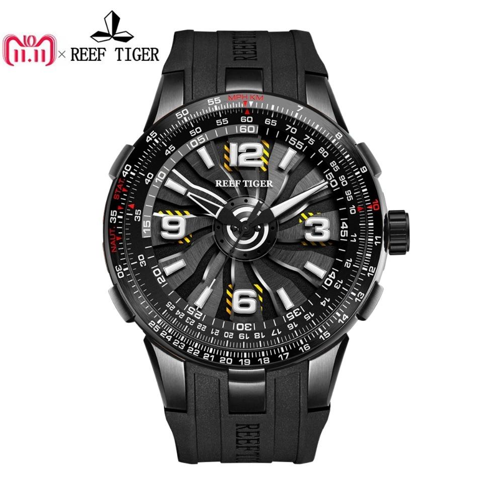 Новый Риф Тигр/RT Для мужчин спортивный Автоматические часы черный Сталь двигателя Кружение циферблат военные часы RGA3059