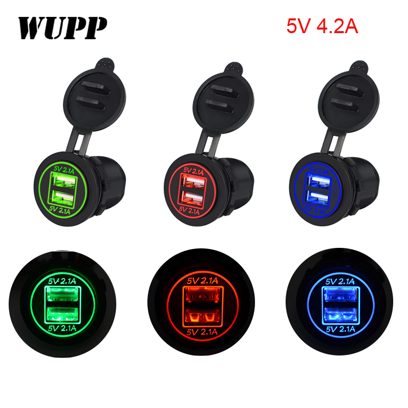 Universal LED Light Car Charger USB Vehicle DC12V-24V Waterproof Dual USB Charger 2 Port Power Socket 5V 4.2A for Motorcycle