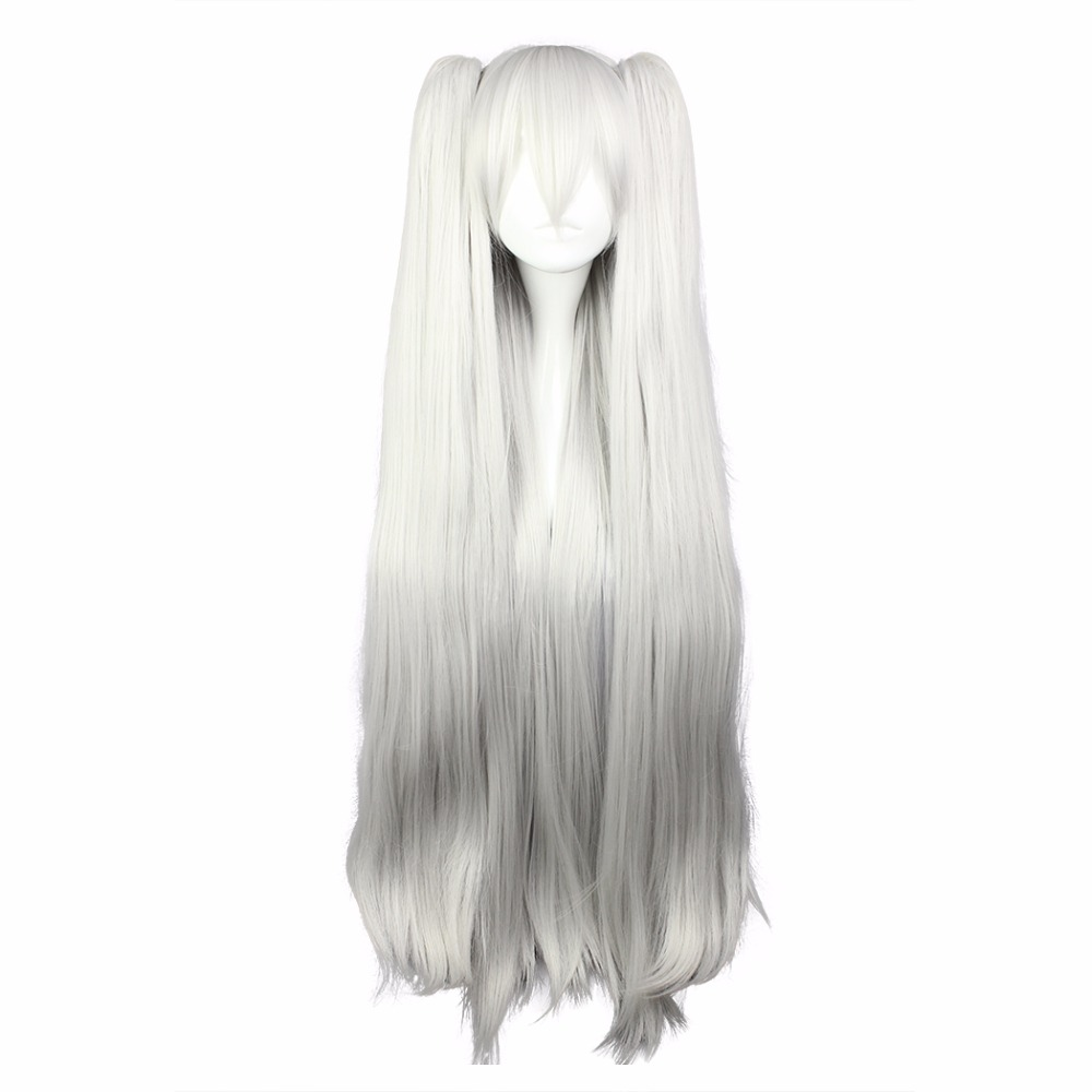 MCOSER 100cm Long Straight Synthetic Silver Ponytails Cosplay Party Full Wig Women Style 100% High Temperature Fiber WIG-577I