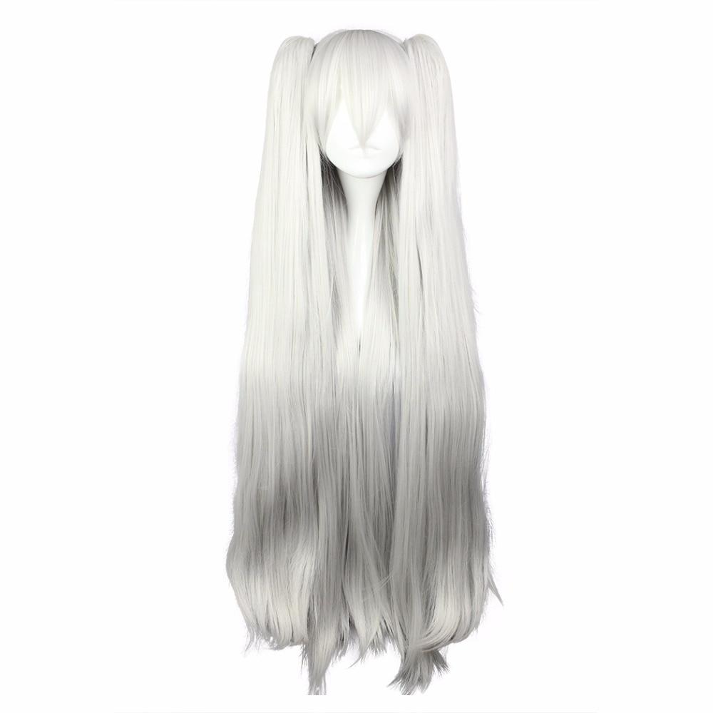 100 εκατοστά Long White Ponytails Συλλογή Kantai - Συνθετικά μαλλιά - Φωτογραφία 1