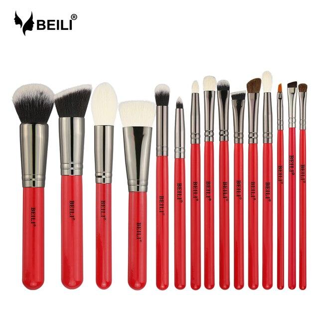 BEILI 15 piezas pinceles de maquillaje polvo sombra de ojos cosméticos cepillo de pelo Natural cejas profesional de la Fundación mango rojo