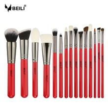 BEILI 15pcs Makeup Brushes Eyeshadow Powder Cosmetics Make Up Brush Set Natural Hair Eyebrow Professional Foundation Red Handle