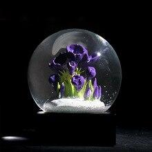 Europäischen Stil Schneeflocke Kristall Ball Geburtstag Geschenk Lila Blume Globus Ball Handwerk Hause Dekoration