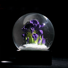 Europese Stijl Sneeuwvlok Crystal Bal Verjaardagscadeau Paarse Bloem Globe Bal Ambachten Home Decoratie