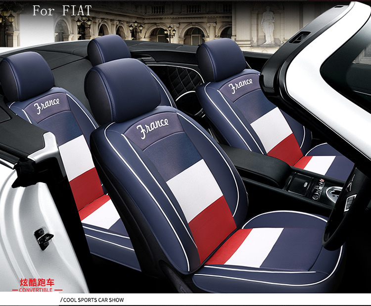 Brand Design Flag Pattern Pu Leather Car Seat Cover For Fiat 500