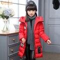 2017 Новых Прибытия Девушки Зимой Вниз куртка Сгущает Мода Длинные Стиль Куртки Теплый Утолщение Детский Открытый Снег доказательство Пальто DQ188