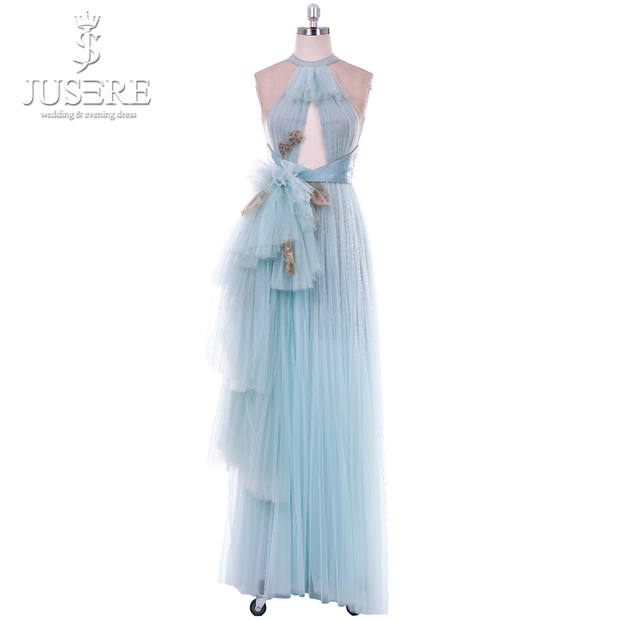 High End   Prom     dresses   Tiered Halter Neck Embroidery Tulle Light Blue   dress   for graduation Formal Evening   Prom     Dress