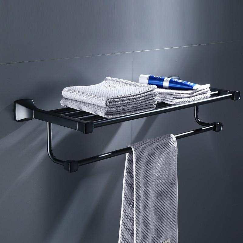 สีดำห้องน้ำชั้นวางผ้าเช็ดตัวผ้าเช็ดตัวชั้นวางผ้าเช็ดตัวห้องน้ำชั้นวางห้องน้ำฮาร์ดแวร์-ใน ชั้นวางผ้าขนหนู จาก การปรับปรุงบ้าน บน AliExpress - 11.11_สิบเอ็ด สิบเอ็ดวันคนโสด 1