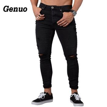 def43c93dc5 Genuo Jeans hombres moda Casual Skinny Stretch Denim Pantalones Distressed  Ripped Freyed Slim Fit Jeans pantalones para hombre Pantalones