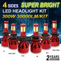 300W 30000LM Super Bright 4 Sides LED Headlight Kit White H4 HB2 9003 11 8 9