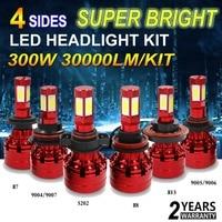 300W 30000LM Super Bright 4 Sides LED Headlight Kit White H4 HB2 9003 11 8 9
