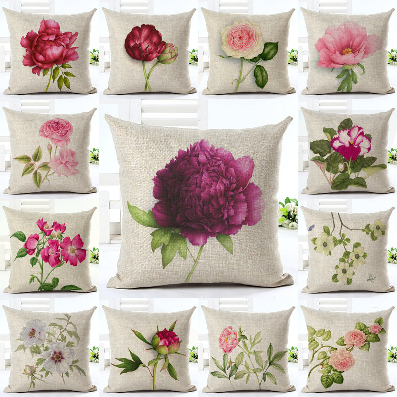 Purple Flower Cushion Cover Watercolor Painting Flowers Home Decorative Throw Pillow Cover Cotton Linen Sofa Chair Pillow Case Home Textile