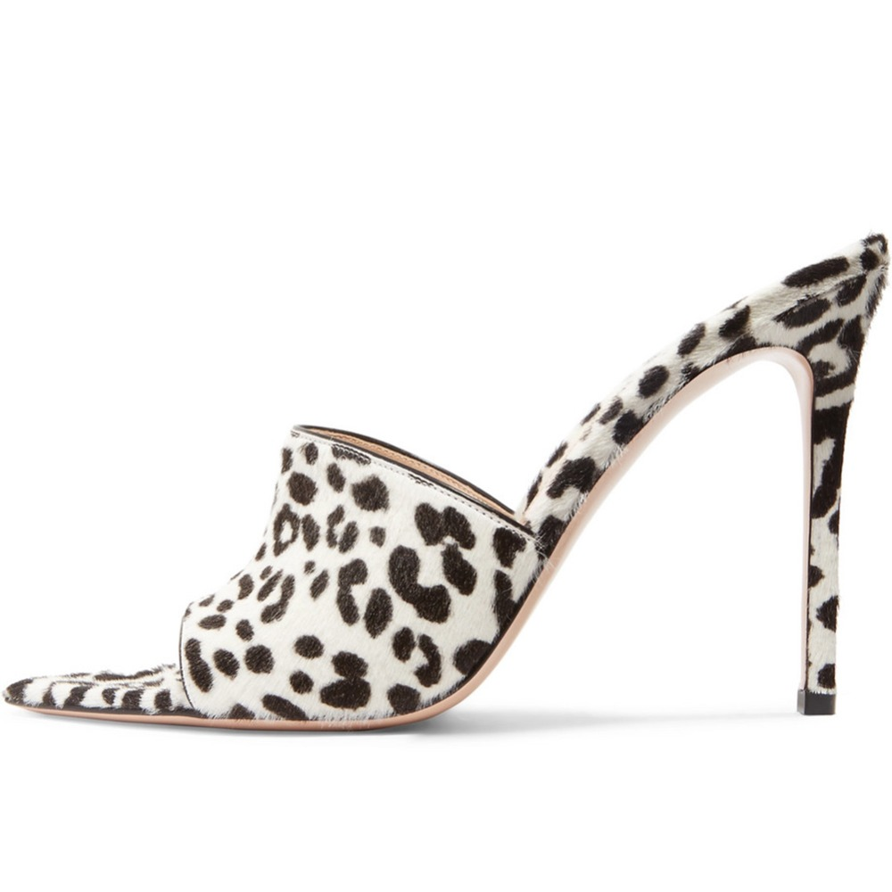 white leopard pointed toe mules (1)