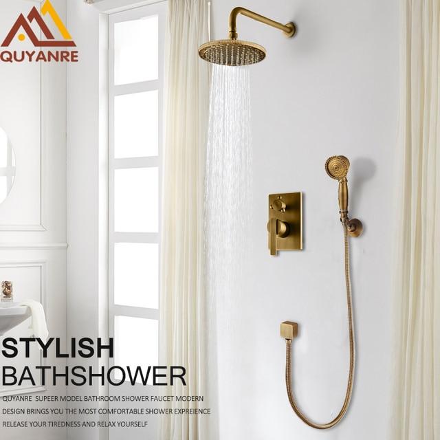 Quyanre Concealed Carve Antique Brass Shower Faucets Set 8 Brass