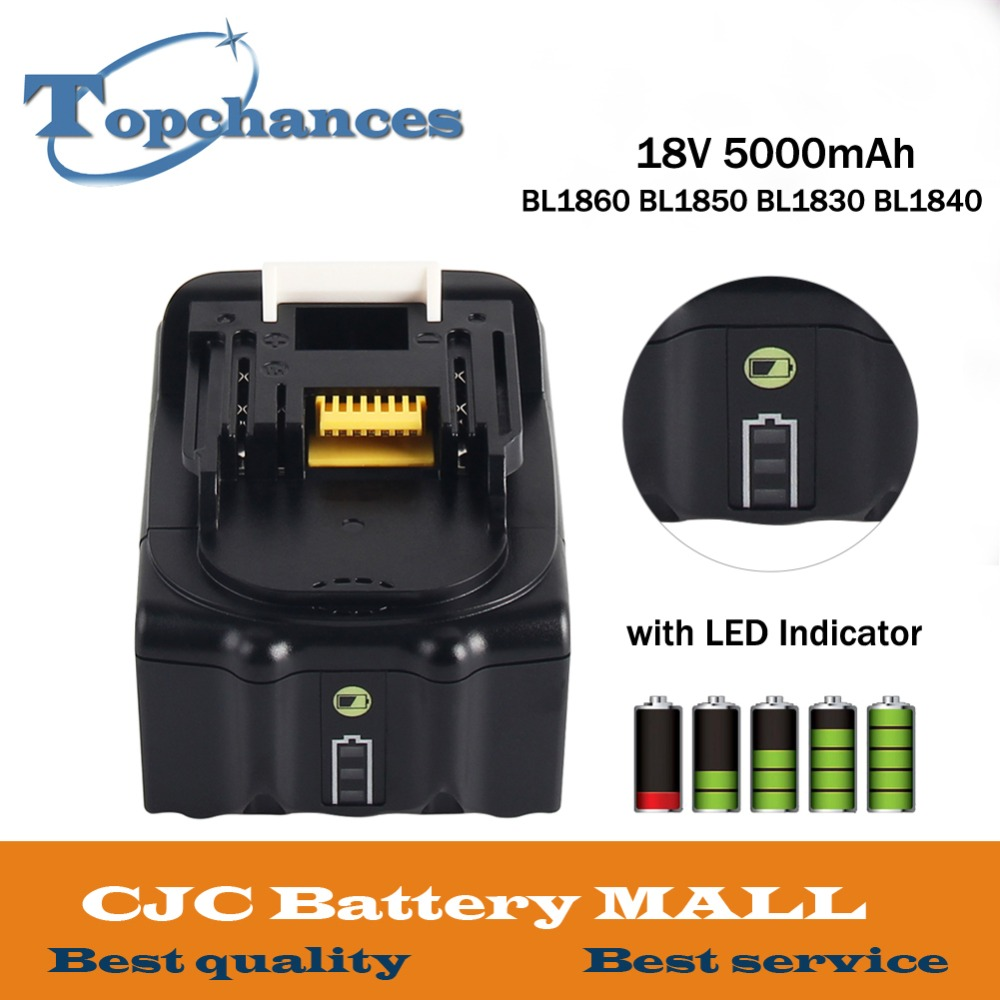 High Capacity 18V 5000mAh With LED Indicator Li-ion Battery For Makita Battery BL1860 BL1850 BL1830 BL1840 194205-3 Power Tool 18v 6000mah rechargeable battery built in sony 18650 vtc6 li ion batteries replacement power tool battery for makita bl1860