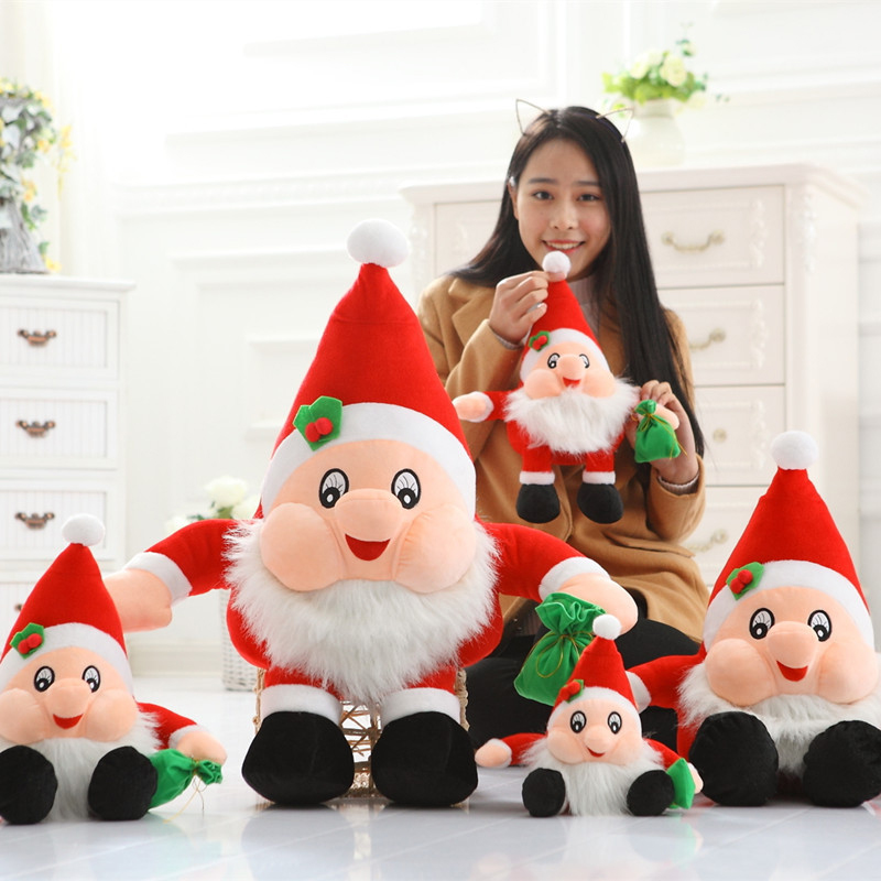 2017 High quality Handmade Cute Soft Plush Christmas Santa Claus Toys Decorations Doll Festival funny Gift for kids ornament