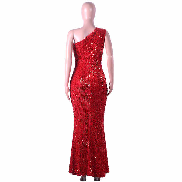 2a15d8ae25 Sequin dress party Woman One Shoulder Sleeveless Floor Length Hollow Out  Dress Bodycon Mermaid Maxi Club Dress Robe Long Vestido