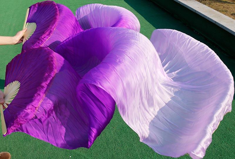 2018 High Quality Silk Belly Dance Fan Dance 100% Real Silk Veils Left+right blue Colors HOT SALE purple + light purple