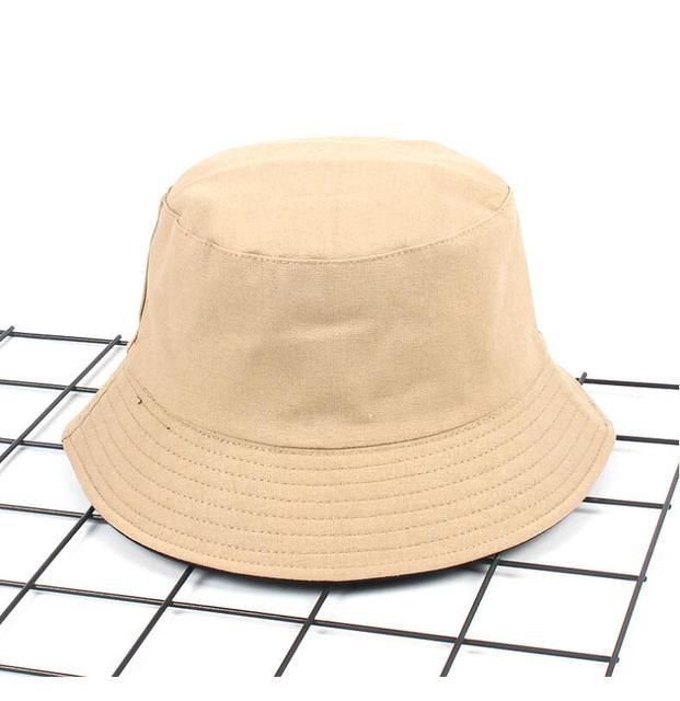 dd13d546d61 Two Side Reversible solid khaki Bucket Hat Unisex Fashion Bob Caps Hip Hop  Gorros Men Summer