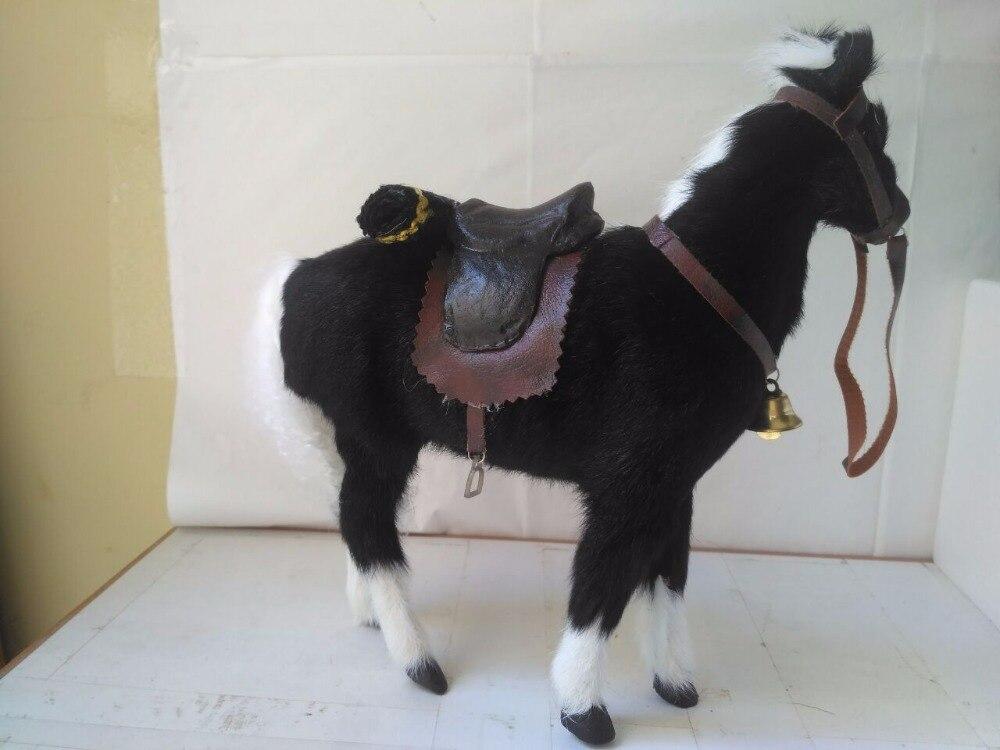 grande 28x10x26 cm preto artesanato cavalo, decoração da casa de brinquedo d2800