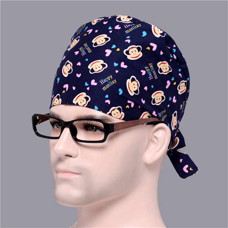 Мужская медицинская хирургическая шапочка с принтом обезьяны, с галстуком-бабочкой для медсестры, с черепом на спине, с хлопковым свитером, темно-синие регулируемые шапки