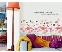 60x90cm Hot  Removable Wall Sticker Mural Decal Grass Flowers Butterfly Room Art Home Decor adesivo de parede