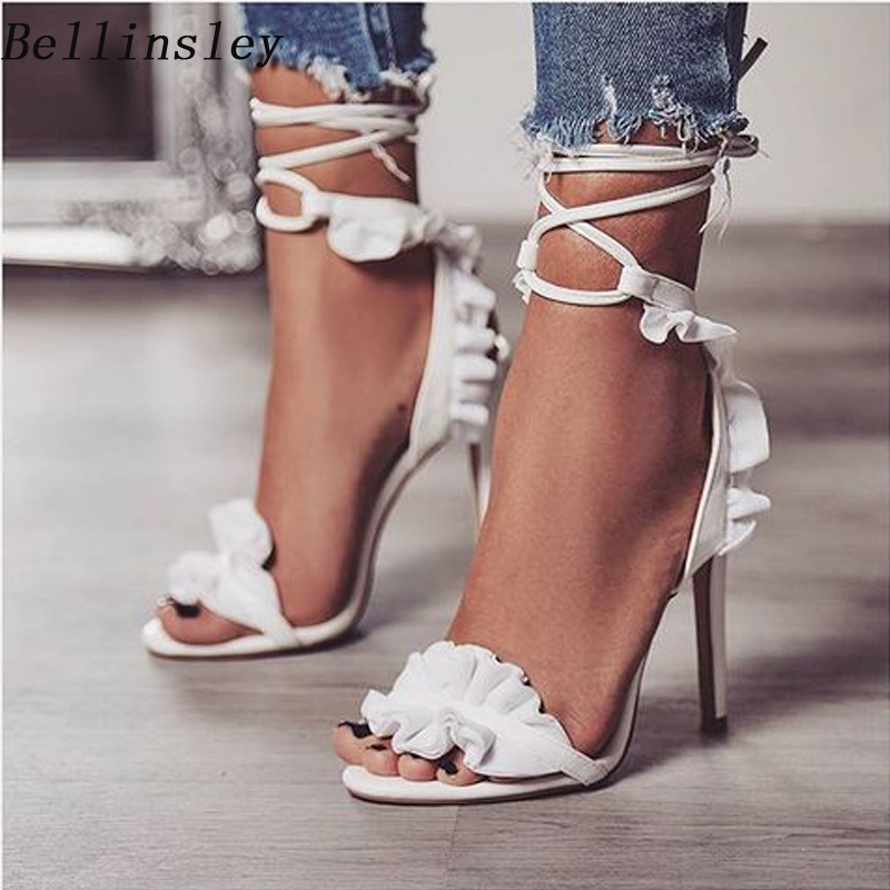 Women Summer Sandals Cross Strappy High Heels Open Toe Ruffle Lace Up White  Sandals Fashion Ladies 8db8aed2a3c0