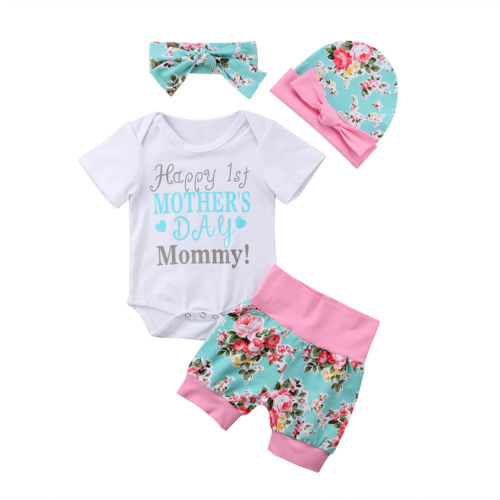 4PCS Infant Newborn kids Baby Girls Letter Print Romper Jumpsuit Playsuit+Fruit Print Pants Hat Headband Clothes Outfit Set