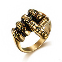 Hot Cool Unique Jewelry Gold Color Men's Biker Middle Finger Up Stainless Steel Ring Specially Designed For Real Cool Men Size 7