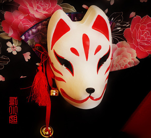 Full Face Japanese Style Hand-Painted Fox Kitsune Masquerade Gypsum Cosplay Masks for Halloween Carnival Party