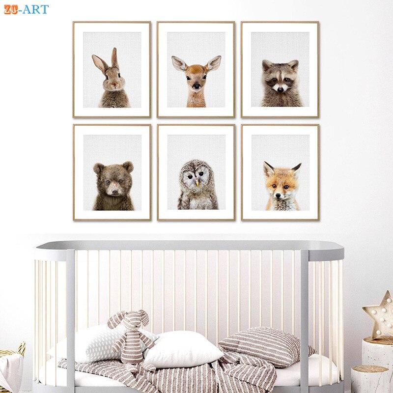 Rabbit Dog Deer Bear Fox Owl Prints Nursery Picture Woodland  Animal  Wall Art Peekaboo Cnavas Painting Kids Room Decor Unframed