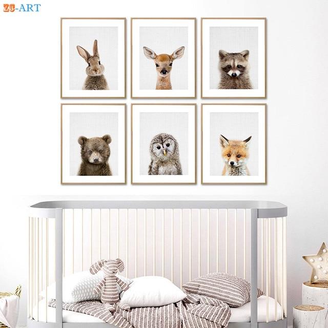 Rabbit Dog Deer Bear Fox Owl Prints Nursery Picture Woodland Animal Wall Art Kaboo Cnavas Painting