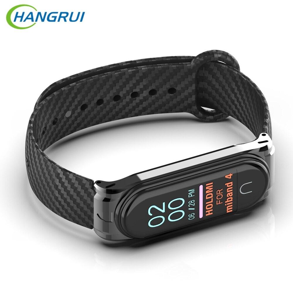 Hangrui Mi Band 4 Strap Sport Silicon Carbon Fiber Wrist Bracelet Miband 4 Replacement Mi Band4 Bracelet For XiaoMi Mi Band 4